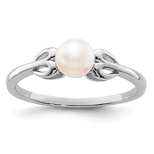 - 925 Sterling Silver Freshwater Cultured Pearl Band Ring Size 9.00 Set Birthstone June Gemstone Fine Jewelry Gifts For Women For Her