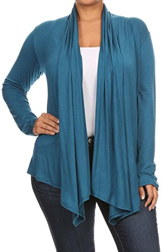 Women's PLUS Solid Long Sleeve Draped Neck Open Front Cardigan. MADE IN USA (3X, (Long Sleeve Draped Neck)