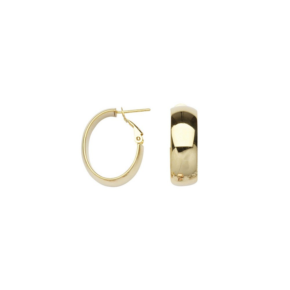 14k Yellow Gold Plain 8mm Oval Hoop Earrings Omega Clip