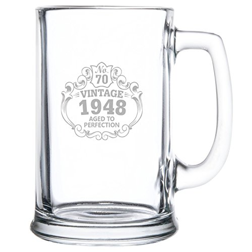 Beer Mug • 70th Birthday Vintage 1948 Aged to Perfection Engraved • 15oz • Great Gift for Father • Grandfather • Husband • Son • Friend by Laser Etchpressions