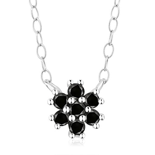 Gem Stone King Black Diamond 925 Sterling Silver Flower Shaped Pendant Necklace (0.25 cttw, With 16 Inch + 2 Inch Extender Chain)