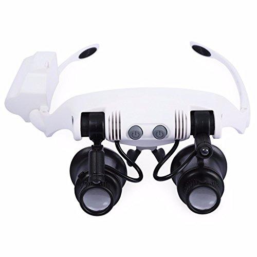 SODIAL Headband LED Magnifying Glass Headlamp Microscope Jewelry Watch Repair