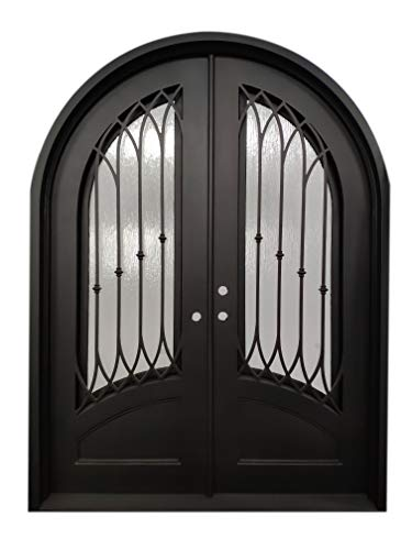 Austin Exterior Front Entry Door Wrought Iron with Operable Tempered Rain Glass 72