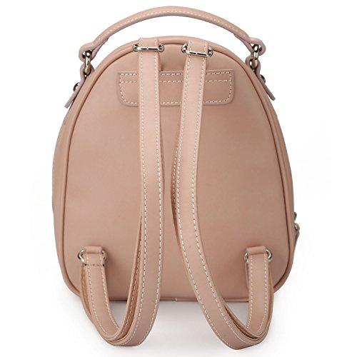 Leather DAVIDJONES Purse Faux Travel Women's Backpack Mini Bag Perforated Shoulder Pink wrrEqz5xS