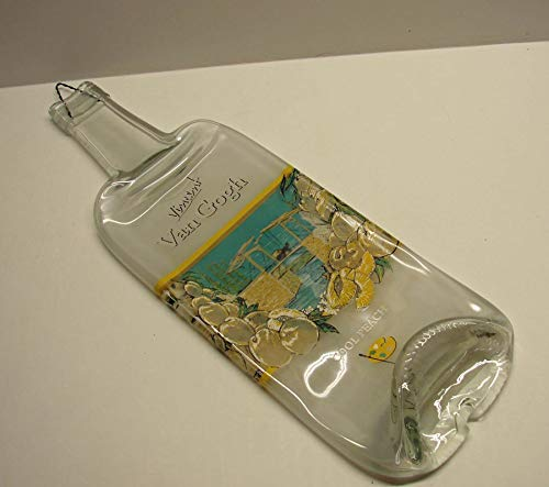 Vincent Van Gogh Peach Vodka Bottle Slumped Flat for Cheese Platter Candle Tray (Vodka Van Gogh)