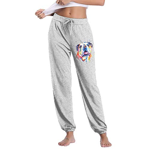 Womens Watercolor Dog Sweatpant Casual Tie Waist Hip Hop Slim Fit Track Pants Gray