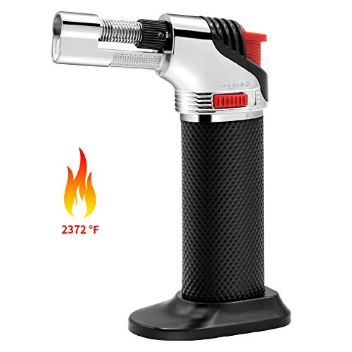 Butane Torch, VOOPII Culinary Torch with Poize Ignition Kitchen Torch Adjustable Flame Blow Torch for Soldering, Jewelry Processing