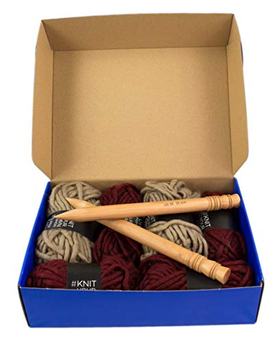 Large Chunky Throw Blanket DIY Knit Kit, Super Soft Thick Yarn w/Large Wood Knitting Needles US 50 Set (Burgundy & Taupe)