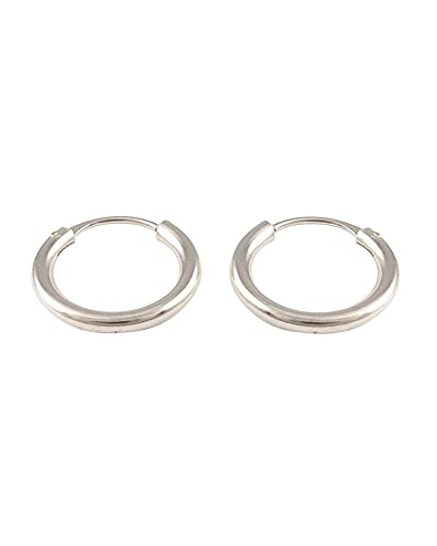 iJewelry2 Continuous Endless Round Circle 14k White Gold Hoop Earrings 12mm 0.5