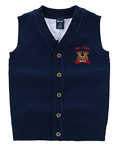 Wei Juan Toddler Boys Cardigan Vest Soft V Neck Sleeveless Buttons Winter Kids School Uniforms 3-4T Navy Blue