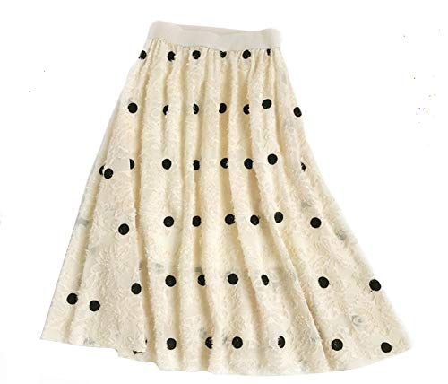 YSJERA Lady's Organza Princess Skirt Bowknot A Line Pleated Midi/Knee Length Tutu Party Skirts (XS, Embroidered Dot Beige) - Floral Embroidered Organza Dress