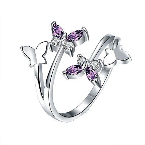 YEAHJOY Women's Adjustable Size Volly Open Rings Butterfly Shape Purple Austrian Crystals Rings (platinum-plated) ()