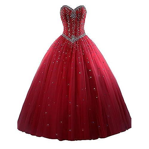 Erosebridal Long Prom Dress Tulle Sweetheart Beaded Quinceanera Dress US 6 Burgundy