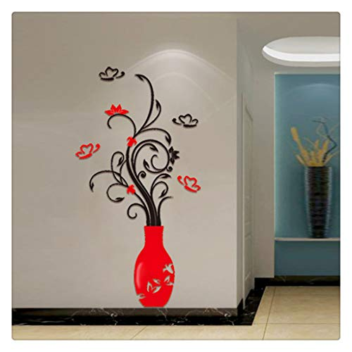 Leyorie DIY 3D Vase Flower Wall Stickers Home Acrylic Crystal Living Room Bedroom TV Background Wall Decal Mural (Red)