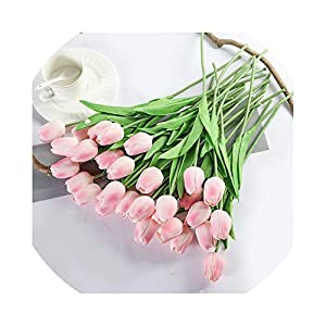 The fairy 31Pcs/Lot Tulip Artificial Flowers Wedding Decor Simulation Bride Bouquet Pu Calla Real Touch Flores para for Home Garden Decor,Pink 118