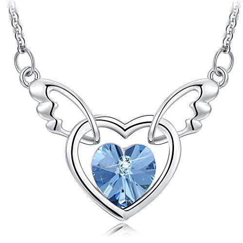 NEEMODA Gifts for Women Blue Crystal Heart Necklace Pendant Fashion Jewelry for Her Girls Girfriend Birthday Anniversary Valentines Day White Gold Plated Angel Wings Austrian Crystal Angel Necklace