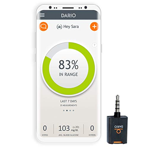 Dario Blood Glucose Meter Starter Kit for Android, All-In-One Blood Sugar Monitor, 25 Test Strips, 10 Sterile Lancets, 10 Disposable Covers. Mini, Smart Self-Care Glucose Meter for Monitoring Diabetes (Kick Monitoring System)