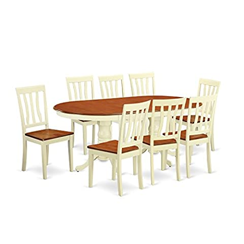 East West Furniture PLAN9-WHI-W 7 Piece Dining Table with 6 Solid Wood Chairs Set - Extendable Dining Table Set