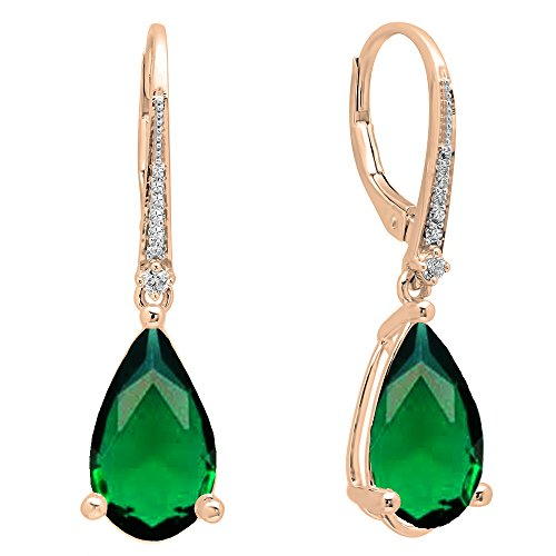 Dazzlingrock Collection 18K 14X8 MM Each Pear Lab Created Emerald & Round Diamond Dangling Drop Earrings, Rose Gold ()