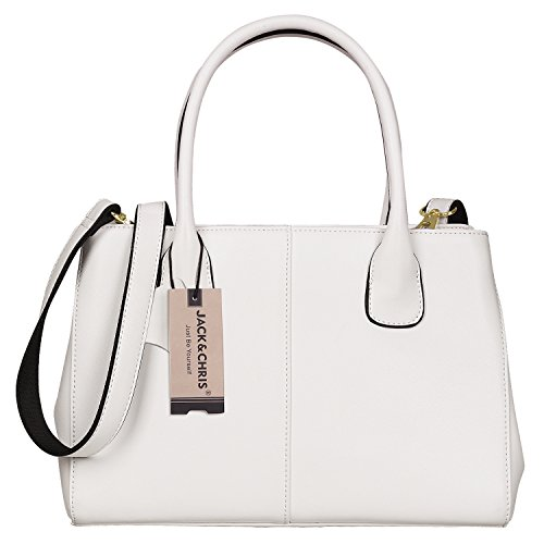 Design White Leather (Jack&Chris Structured Genuine Leather Handbags Women Top Handle Crossbody Bag Strudy,HXB488(Creamy White))