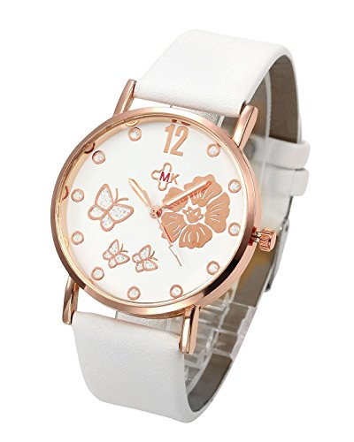 Top Plaza Classic Lovely Style Flower Butterfly Dial PU Leather Band Dress Analog Quatz Wrist Watch Rose Golden Case Elegant Business Watches for Womens ()