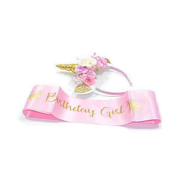 Girls Gold Unicorn Headband,& Pink Silk Unicorn Birthday Sash,Unicorn Party Supplies for Kids Adults 4