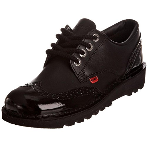 Kickers Womens Kick Lo Brogue Core Leather Patent Lace Up Office Shoes - Black - 8.5