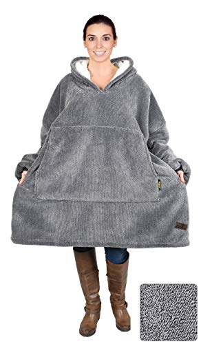 Catalonia Oversized Sherpa Hoodie Sweatshirt Blanket,Super Soft Warm Comfortable Giant Hoody with Large Front Pocket,for Adults Men Women Teens Ash