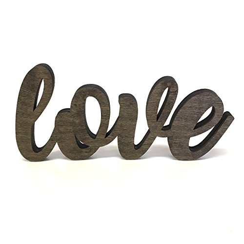 Cut Out Wood (Wood Love Cutout Sign Made of Birch Plywood Stained Dark Walnut)
