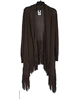 BCBGMAXAZRIA Soho Fringed Cardi-Wrap Medium/Large