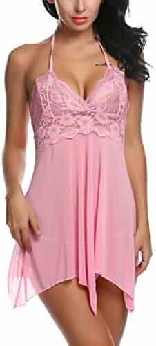 0b92ae356a ADOME Women Lingerie Lace Babydoll V Neck Chemise SetSheer Sleepwear  Nightwear Outfits