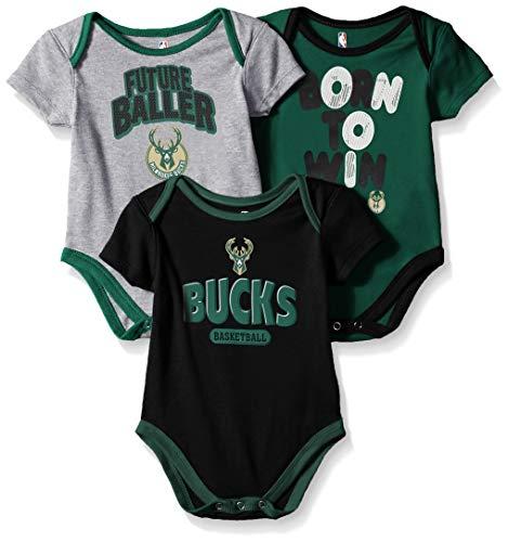 Outerstuff NBA NBA Newborn & Infant Milwaukee Bucks Little Fan 3pc Bodysuit Set, Heather Grey, 0-3 Months