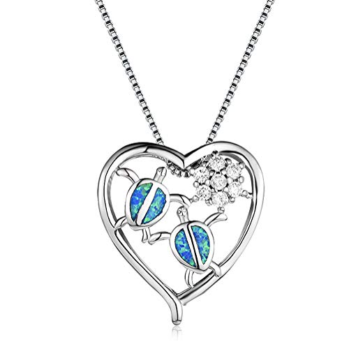 OMZBM Exquisite 925 Sterling Silver Heart-Shaped Pendant Necklace White Gold Plated,Created Health and Longevity Turtle Fire Opal Dangle Women Adjustable Clavicle Chain,Blue