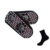 Escolourful Self-Heating Magnetic Therapy Socks with Tourmaline Mineral Sole-Deodorant,Non Slip Socks Help Hot Feet Winter Warm Comfort Women Men Black