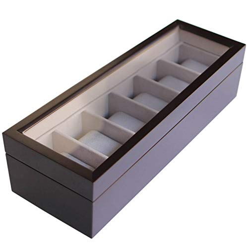 Solid Espresso Wood Watch Box Organizer with Glass Display Top by Case Elegance (Fossil Case Watches)