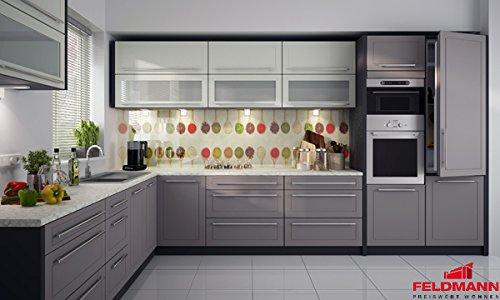 Küchenzeile 169038 Küche L-Form 240x370cm lava / vanille - beige