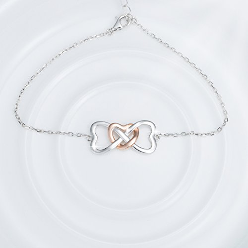 STROLLGIRL 925 Sterling Silver Unique Infinity Charm Heart Bracelet Adjustable Jewelry Gifts for Women by STROLLGIRL (Image #2)