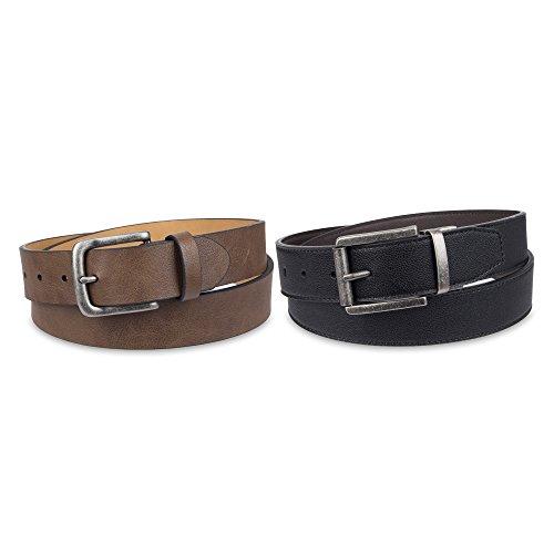 Dickies Men's 2 Belts in a Box Gift Set (Casual & Reversible), Black/Brown, Large (40-42) (Dickies Mens Belt)