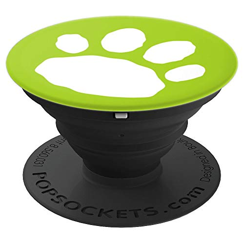 Bold Lime Green and White Dog Paw Print - PopSockets Grip and Stand for Phones and ()