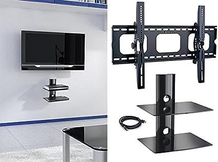 2 x casa – nuevo soporte de pared para televisor y dos (2) doble estante paquete – seguro