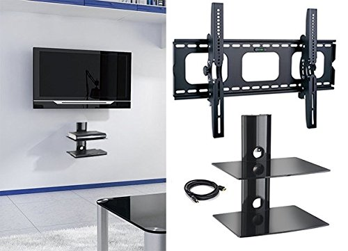 2xhome - NEW TV Wall Mount Bracket & Two (2) Double Shelf Package – Secure LED LCD Plasma Smart 3D WiFi Flat Panel Screen Monitor Moniter Display Large Displays - Flat Thin Ultra Slim Sleek Against the Wall Adjusting Adjustable - Dual 2 Tier Under TV Tempered Glass Floating Hanging Shelves Shelving Unit Rack Tower Set Bundle - Up to 15 degree degrees Tilt - Compatible VESA 200mm x 200mm, 400mm x 400mm , 600mm x 400mm, 700mm x 450mm, 718mm x 450mm