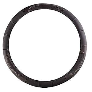 Sumex 2505081 - Funda Volante Piel Negra Con Hilo Plata, 37 - 39 cm