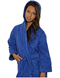 Kids Terry Cloth Robe 100% Cotton Kid's Hooded Bathrobe for Girl and Boy