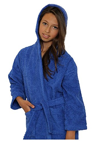 - TowelBathrobe Kids Terry Hooded Unisex Bathrobe (Small) Royal Blue