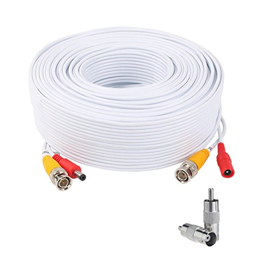 Lknewtrend 300 Feet Pre-Made All-in-One Siamese BNC Video and Power Cable Wire Cord with Two BNC to RCA Connectors for CCTV Security Camera & DVR (White)