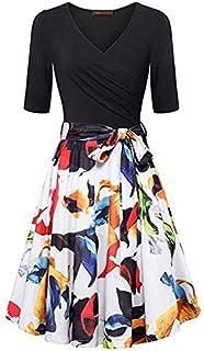 Women Summer Floral Short Sleeve V Neck Dress, Ladies Vintage Elegant Flared Print Dress Mini Dress Beach Party Dresses