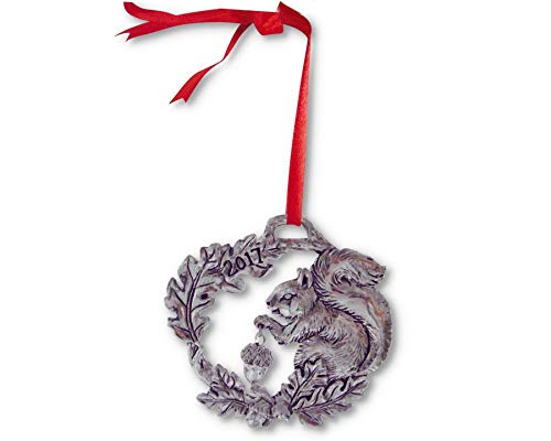 "Arthur Court Aluminum 2017 Christmas Ornament - Squirrel W: 2.0"" / H: 3.0"""