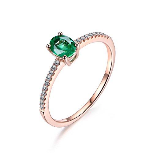 Oval Green Tsavorite Engagement Ring Pave Diamond Wedding 14K Rose Gold 4x5mm