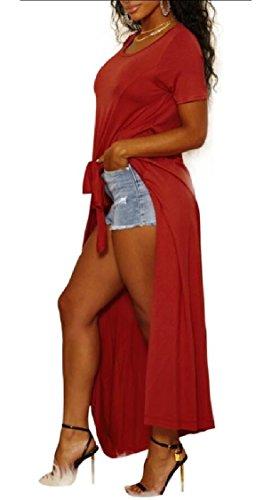 Abito Spiaggia Corte Allentato Maniche Vestito Scissione Donna Prendisole Maxi Rosso Jaycargogo Casuale SXA5nq0w