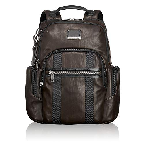 TUMI - Alpha Bravo Nellis Leather Laptop Backpack - 15 Inch Computer Bag for Men and Women - Dark Brown ()